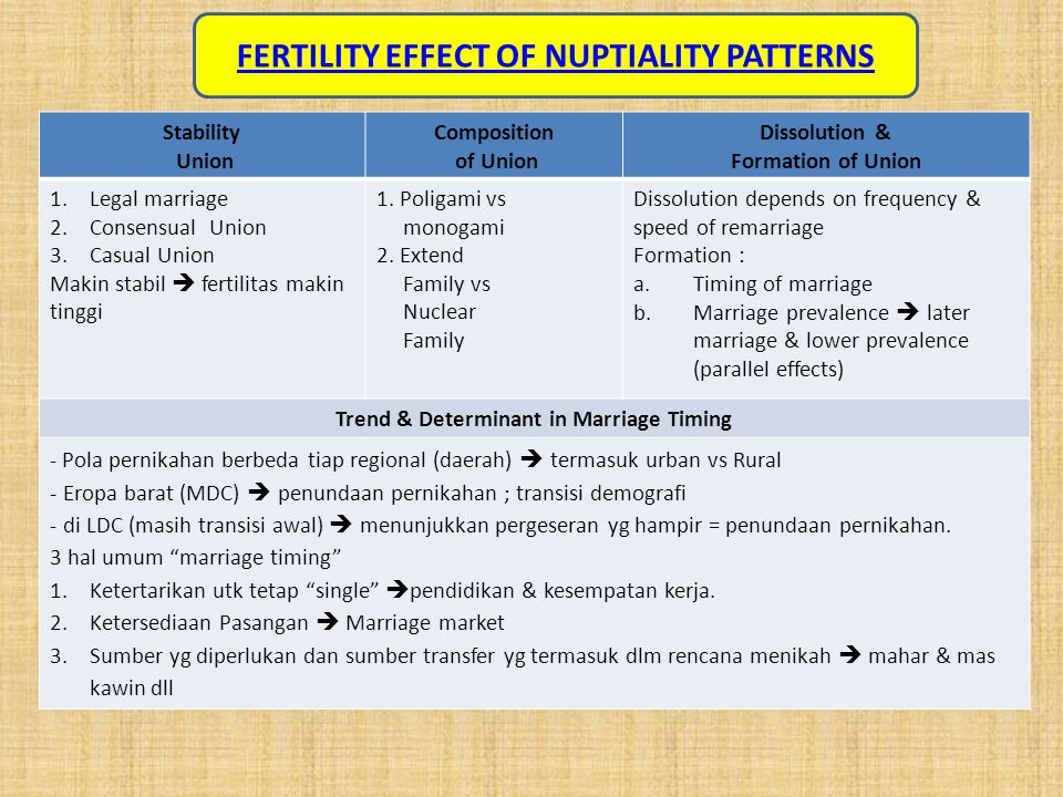 FERTILITY EFFECT OF NUPTIALITY PATTERNS