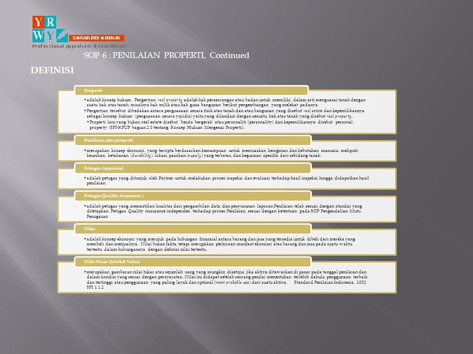 SOP 6 : PENILAIAN PROPERTI, Continued
