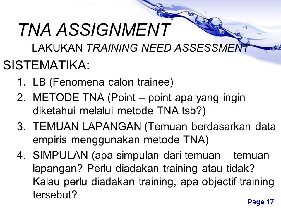 LAKUKAN TRAINING NEED ASSESSMENT