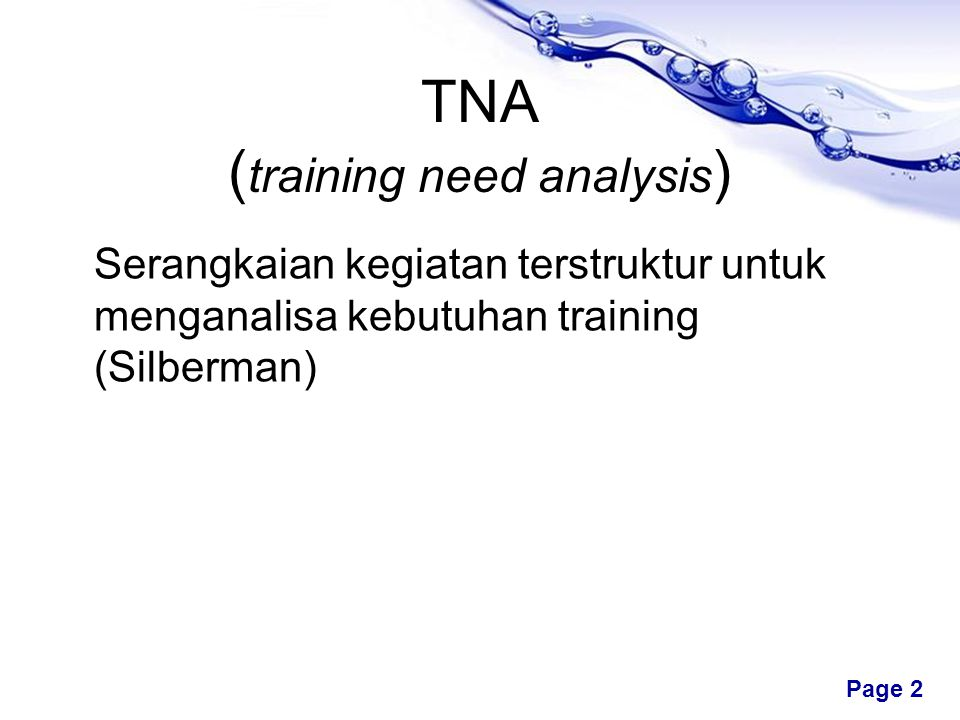 TNA (training need analysis)