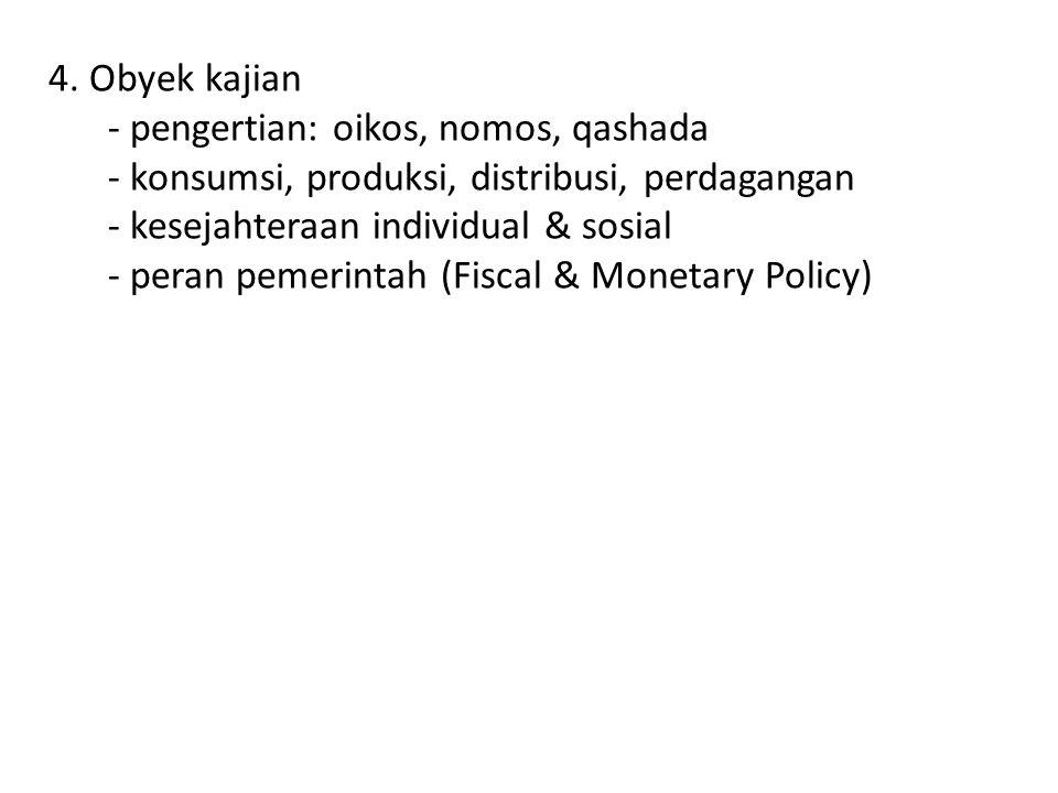 4. Obyek kajian - pengertian: oikos, nomos, qashada. - konsumsi, produksi, distribusi, perdagangan.