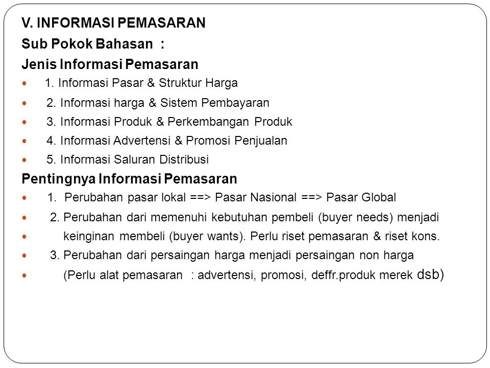 Jenis Informasi Pemasaran