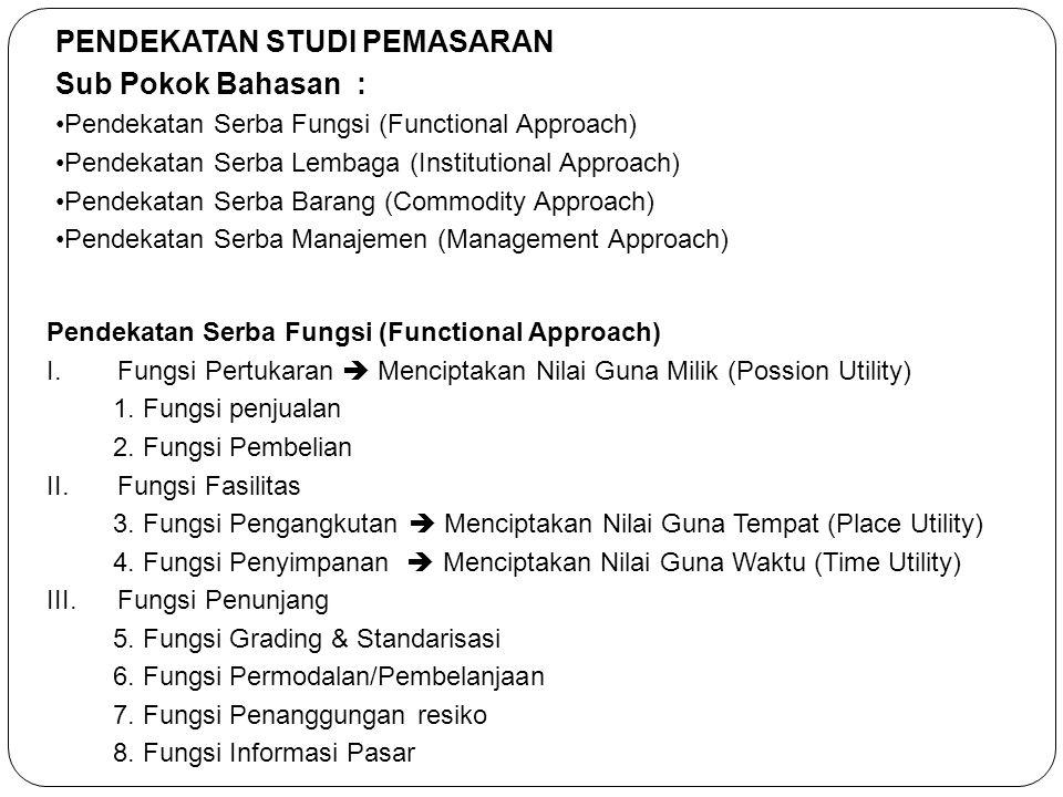 PENDEKATAN STUDI PEMASARAN Sub Pokok Bahasan :