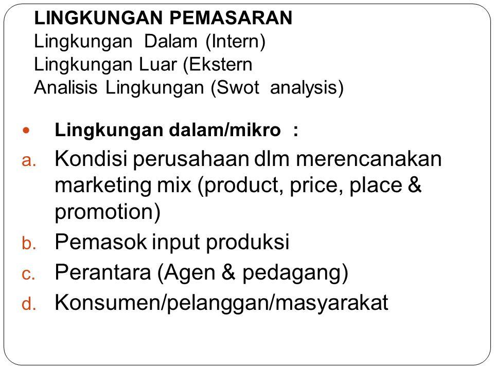Pemasok input produksi Perantara (Agen & pedagang)