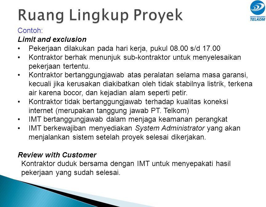 Ruang Lingkup Proyek Contoh: Limit and exclusion