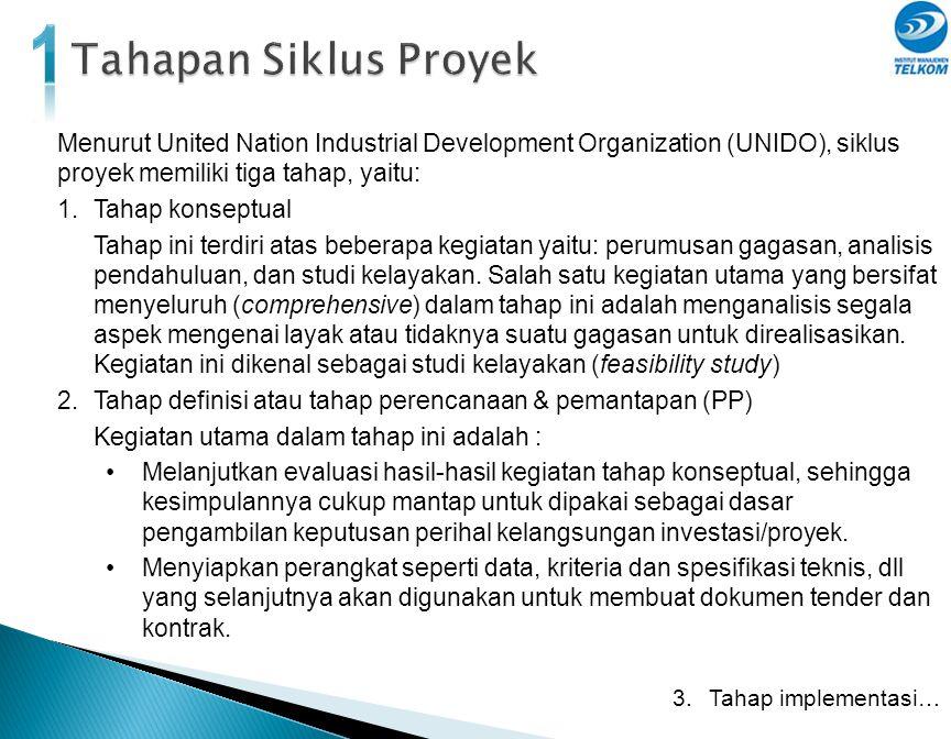1 Tahapan Siklus Proyek. Menurut United Nation Industrial Development Organization (UNIDO), siklus proyek memiliki tiga tahap, yaitu: