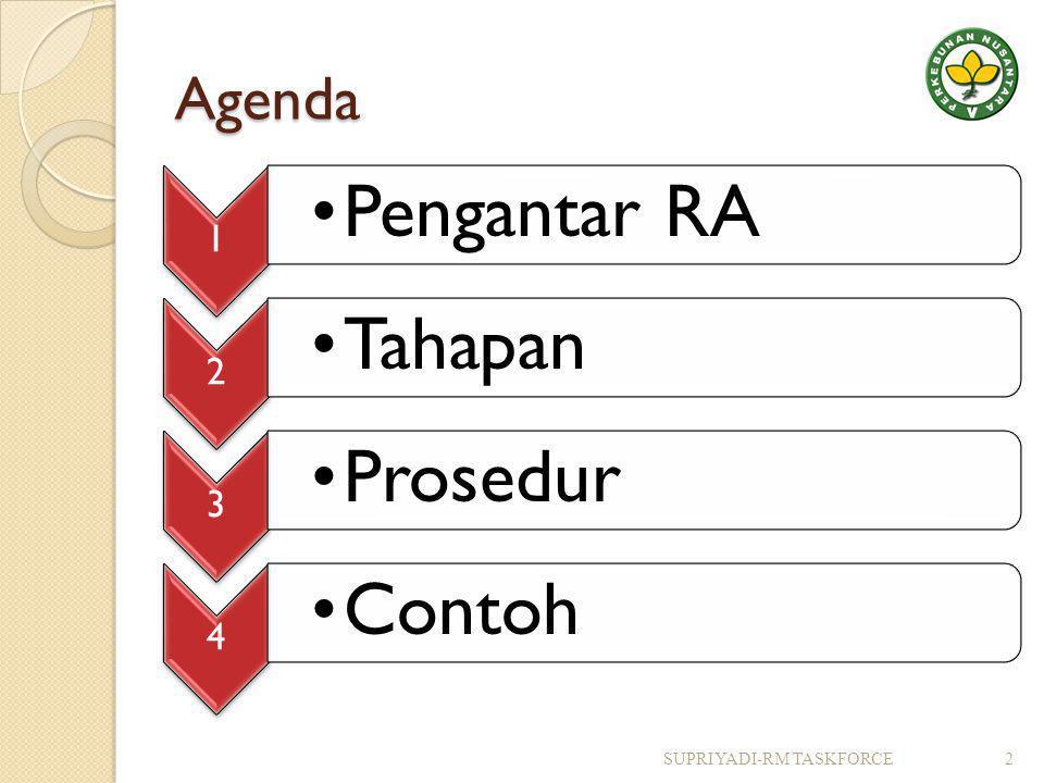 Agenda SUPRIYADI-RM TASKFORCE 1 Pengantar RA 2 Tahapan 3 Prosedur 4