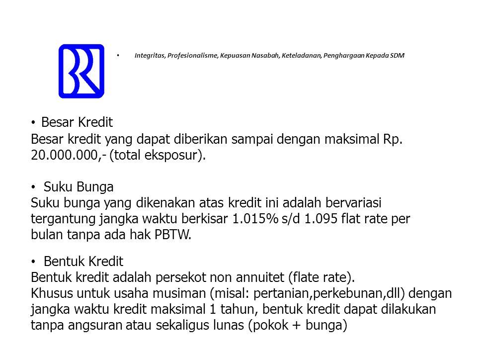 Bentuk kredit adalah persekot non annuitet (flate rate).
