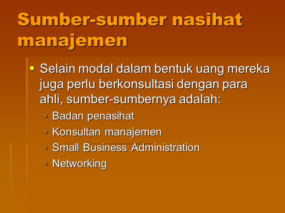 Sumber-sumber nasihat manajemen