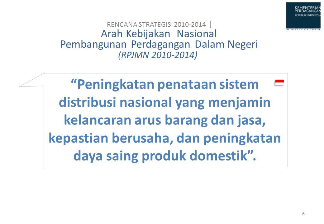 RENCANA STRATEGIS 2010-2014 | Arah Kebijakan Nasional Pembangunan Perdagangan Dalam Negeri (RPJMN 2010-2014)