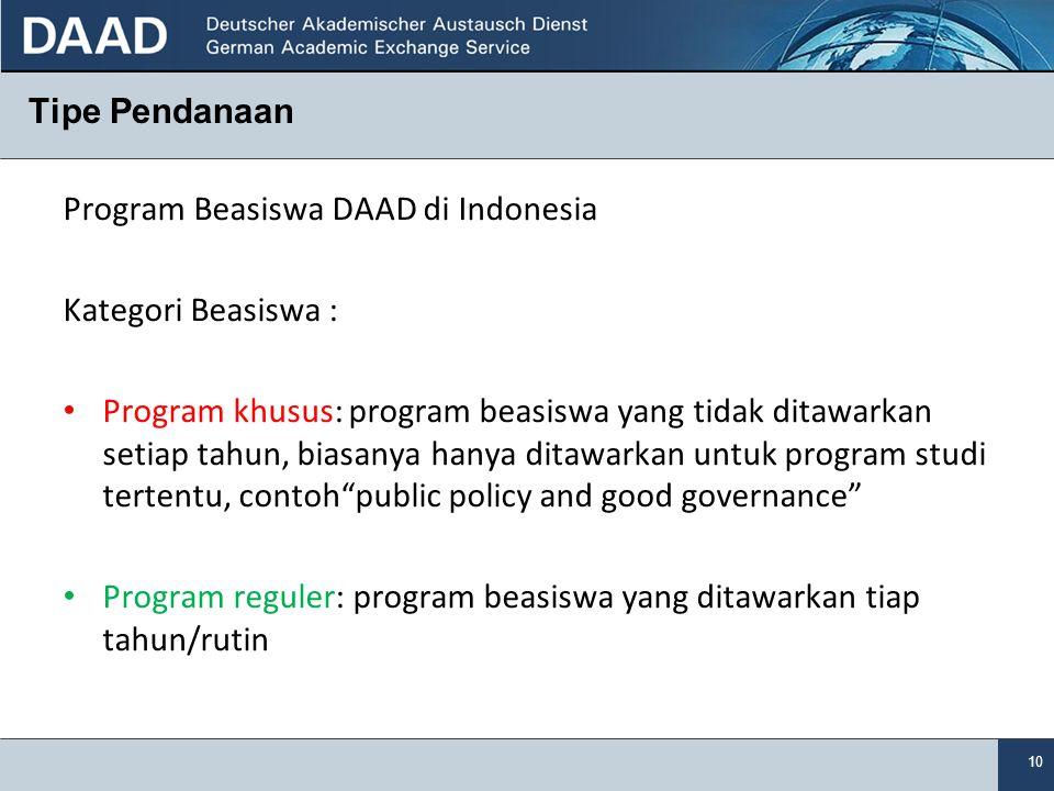 Tipe Pendanaan Program Beasiswa DAAD di Indonesia. Kategori Beasiswa :