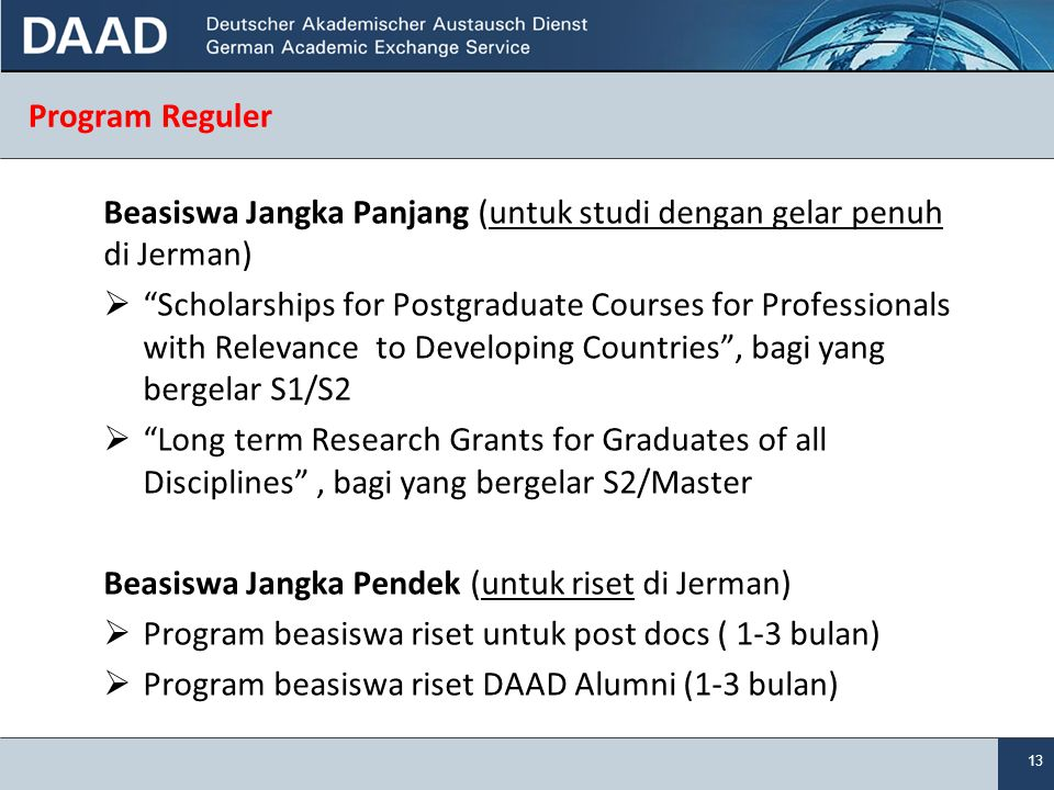 Program Reguler Beasiswa Jangka Panjang (untuk studi dengan gelar penuh di Jerman)