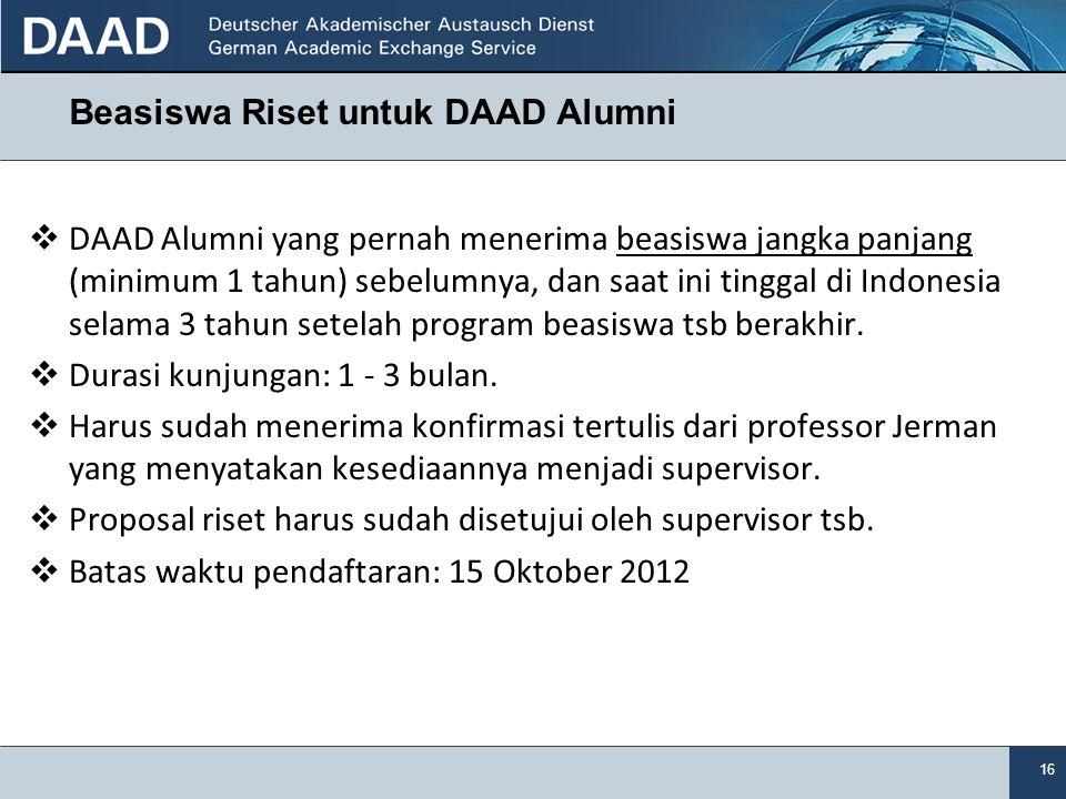 Beasiswa Riset untuk DAAD Alumni