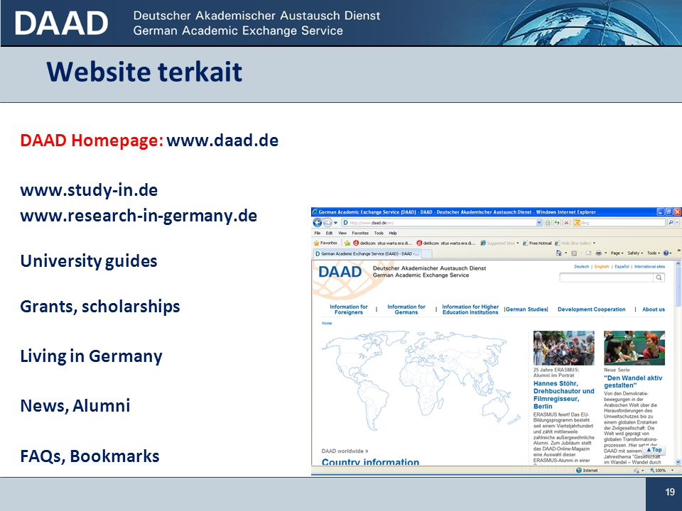 Website terkait DAAD Homepage: www.daad.de www.study-in.de