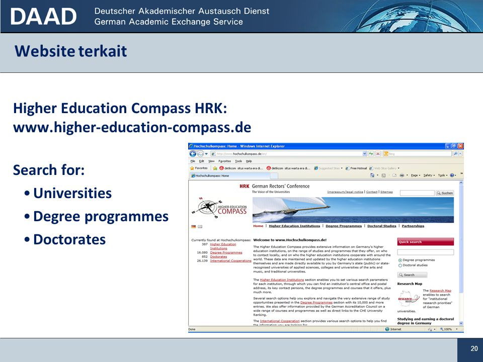 Website terkait Higher Education Compass HRK: www.higher-education-compass.de. Search for: Universities.