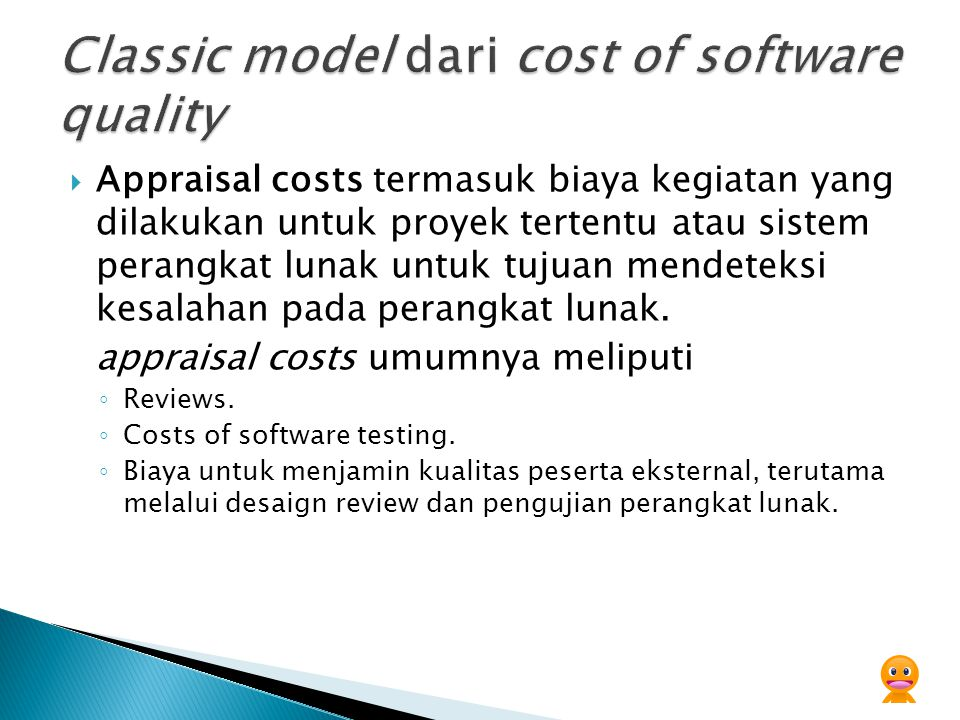 Classic model dari cost of software quality