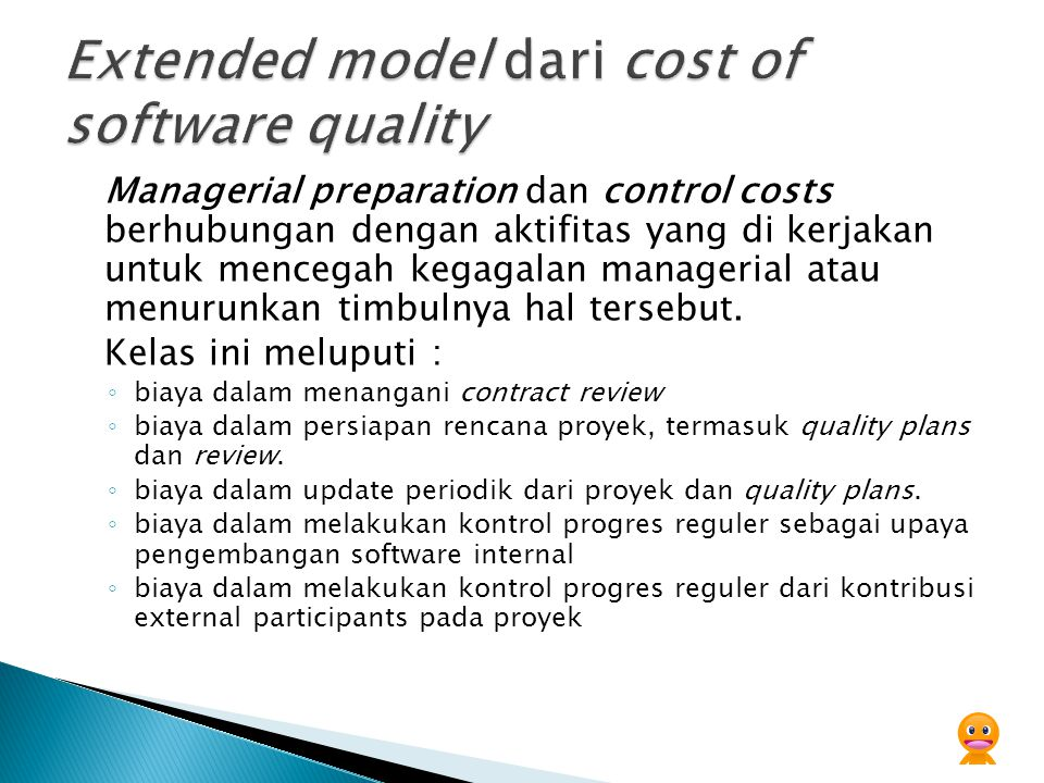 Extended model dari cost of software quality