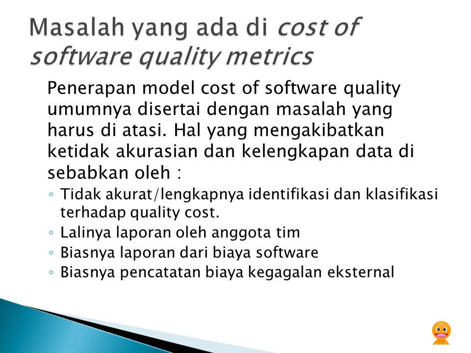 Masalah yang ada di cost of software quality metrics