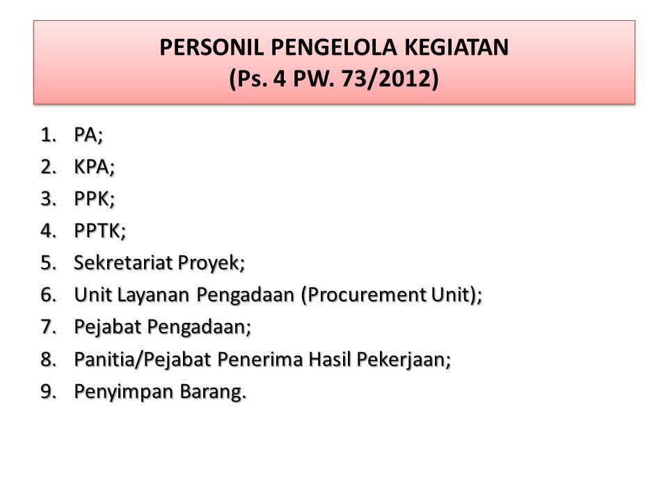 PERSONIL PENGELOLA KEGIATAN (Ps. 4 PW. 73/2012)