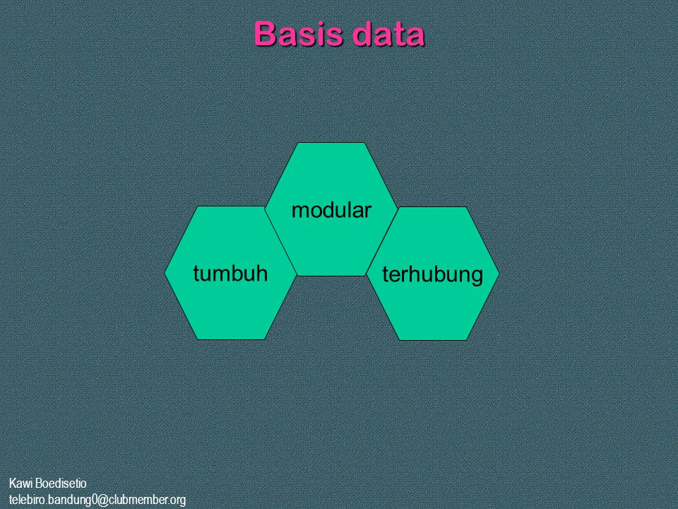 Basis data modular tumbuh terhubung Kawi Boedisetio