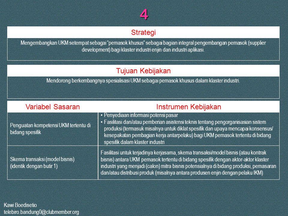 4 Strategi Tujuan Kebijakan Variabel Sasaran Instrumen Kebijakan