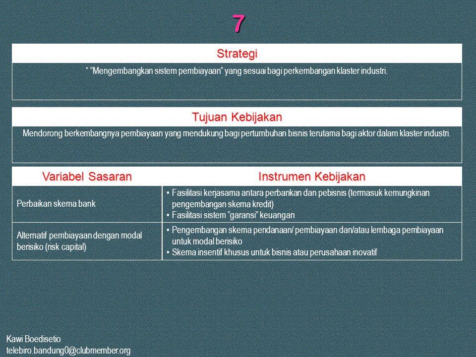 7 Strategi Tujuan Kebijakan Variabel Sasaran Instrumen Kebijakan