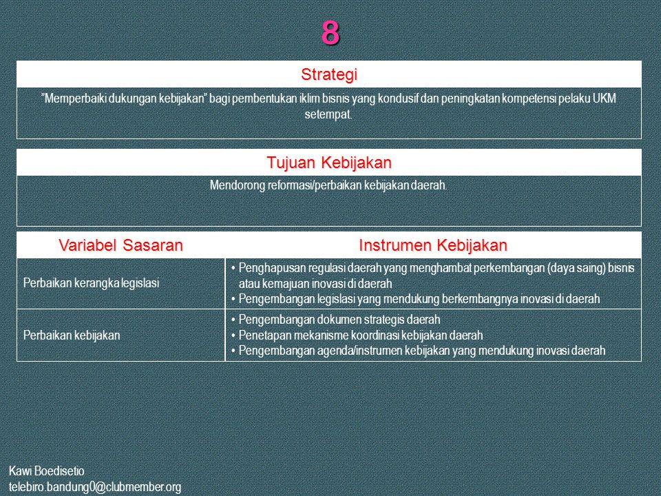 Mendorong reformasi/perbaikan kebijakan daerah.