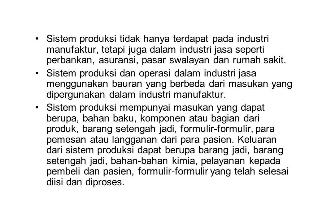 Sistem produksi tidak hanya terdapat pada industri manufaktur, tetapi juga dalam industri jasa seperti perbankan, asuransi, pasar swalayan dan rumah sakit.