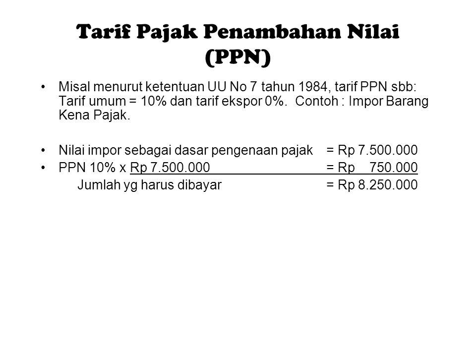 Tarif Pajak Penambahan Nilai (PPN)