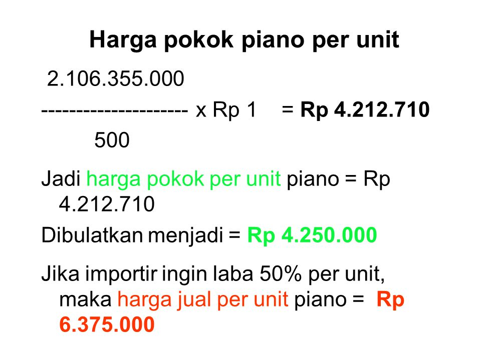 Harga pokok piano per unit