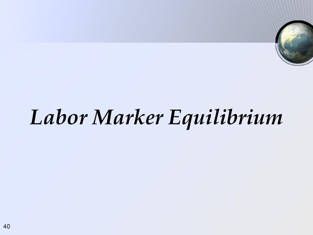 Labor Marker Equilibrium