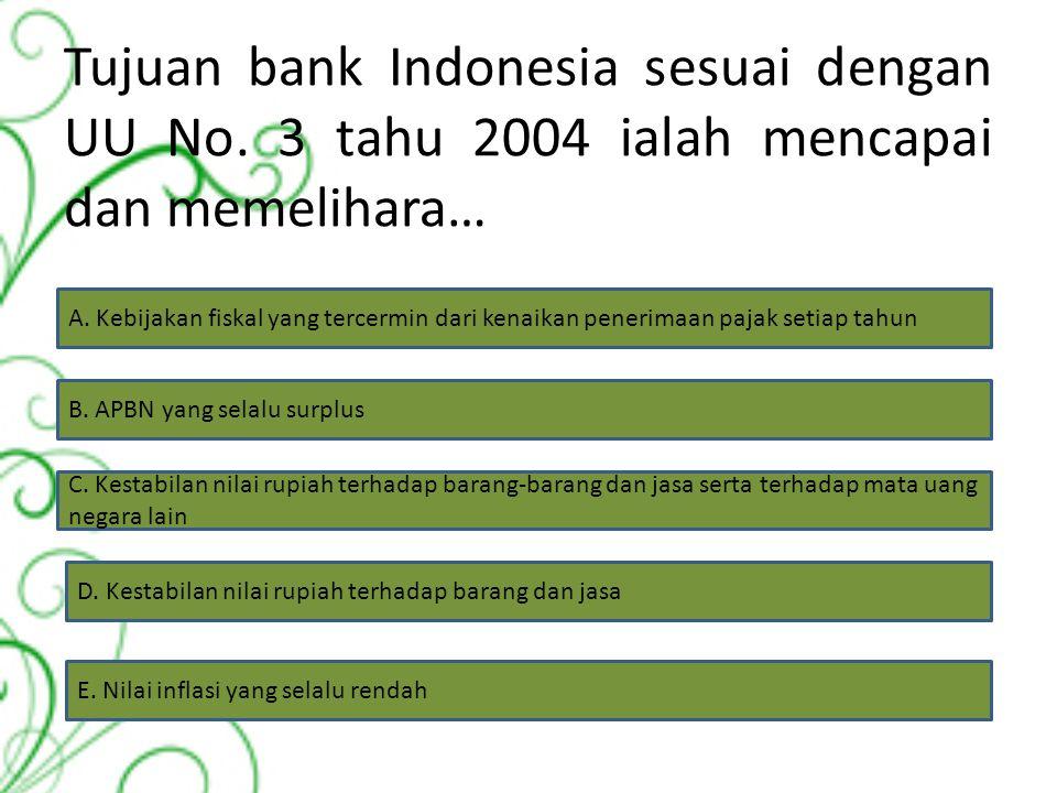 Tujuan bank Indonesia sesuai dengan UU No