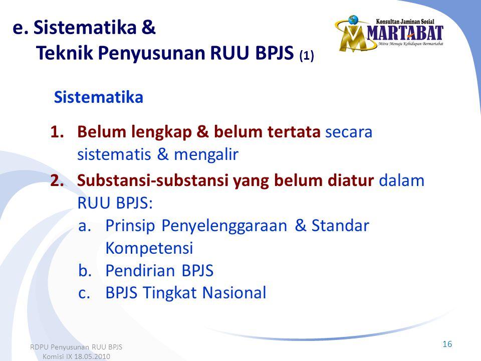 e. Sistematika & Teknik Penyusunan RUU BPJS (1)
