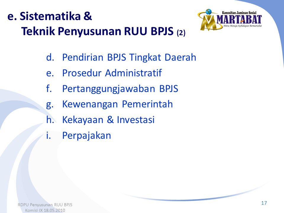 e. Sistematika & Teknik Penyusunan RUU BPJS (2)