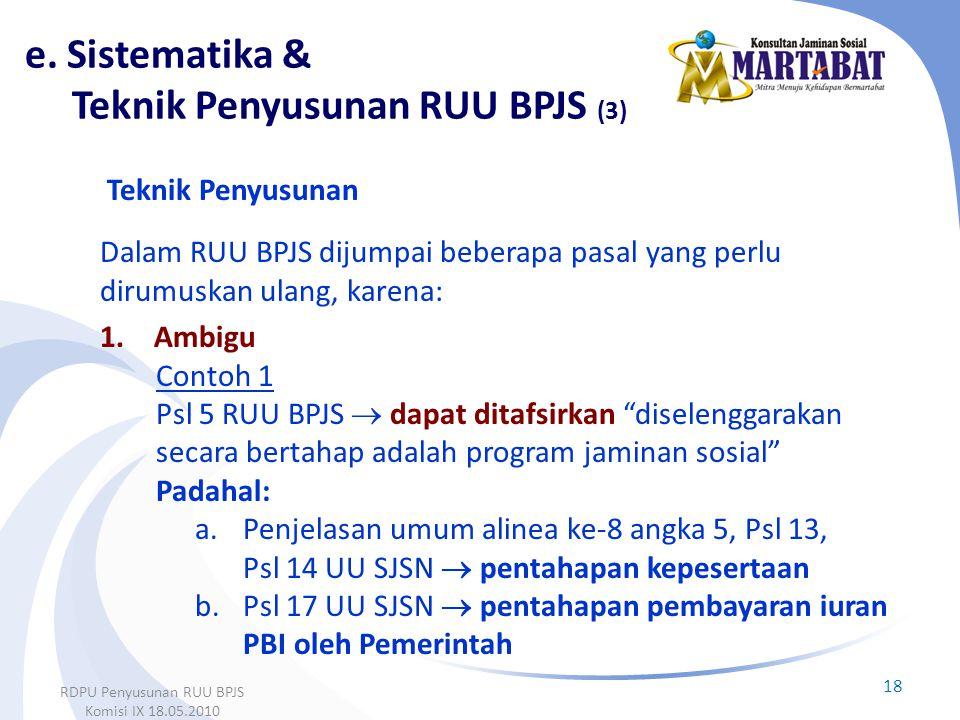 e. Sistematika & Teknik Penyusunan RUU BPJS (3)