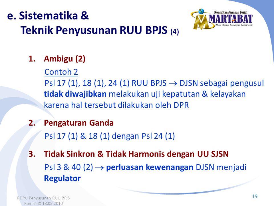 e. Sistematika & Teknik Penyusunan RUU BPJS (4)
