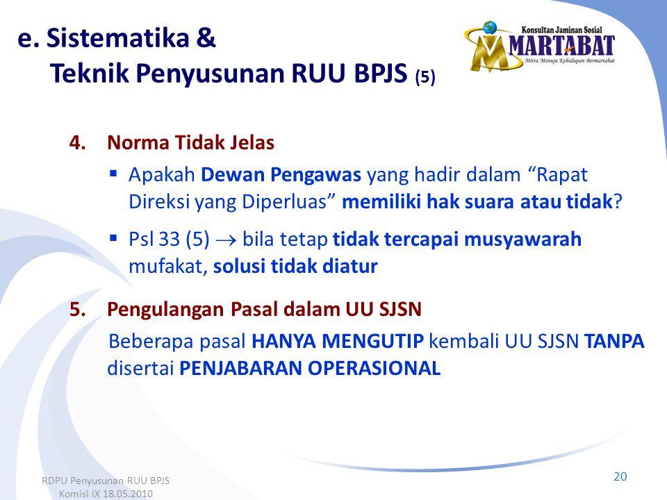 e. Sistematika & Teknik Penyusunan RUU BPJS (5)