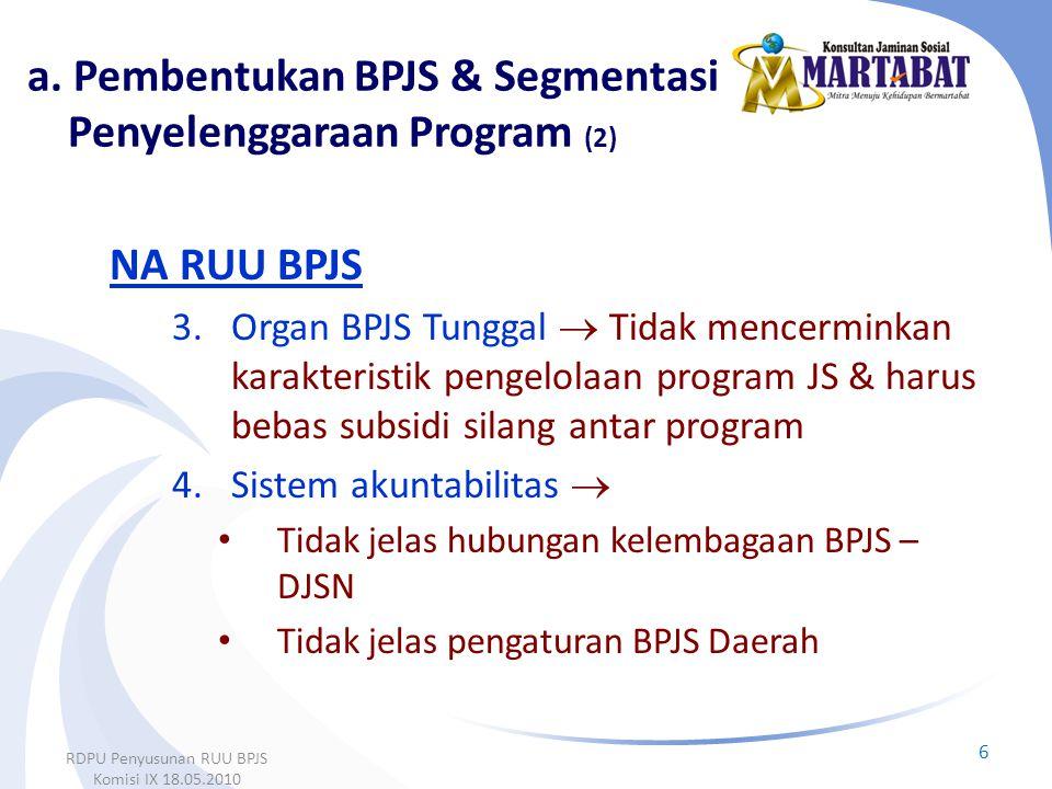 a. Pembentukan BPJS & Segmentasi Penyelenggaraan Program (2)