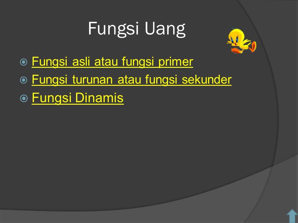 Fungsi Uang Fungsi Dinamis Fungsi asli atau fungsi primer