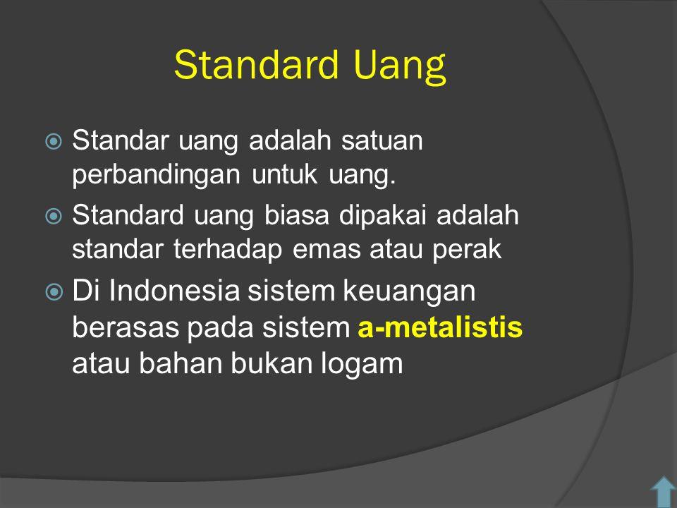 Standard Uang Standar uang adalah satuan perbandingan untuk uang. Standard uang biasa dipakai adalah standar terhadap emas atau perak.