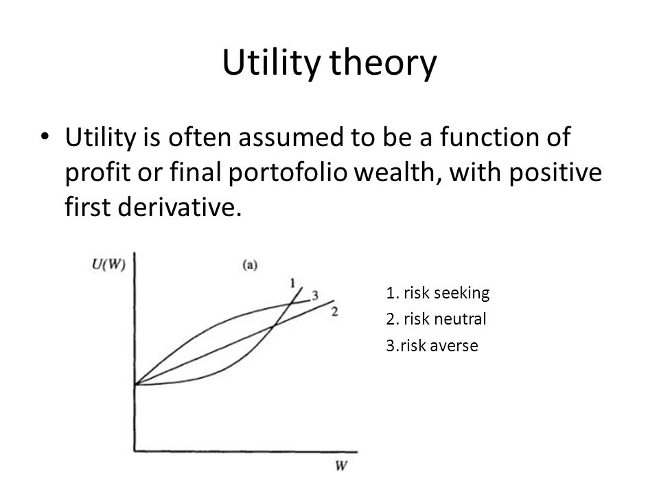 Utility theory Utility is often assumed to be a function of profit or final portofolio wealth, with positive first derivative.