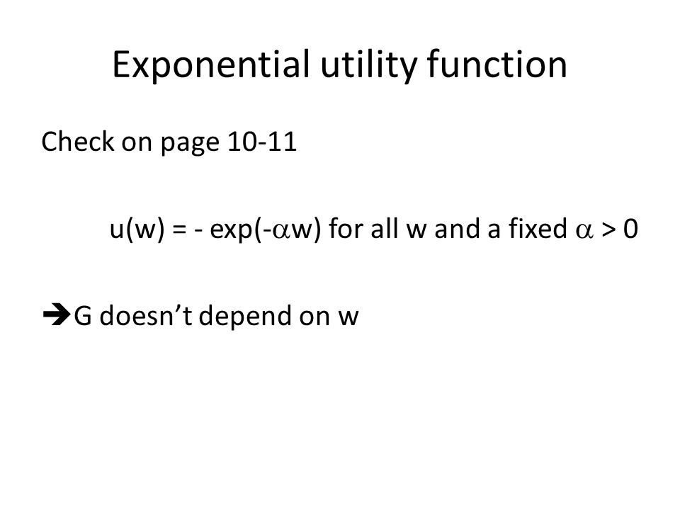 Exponential utility function