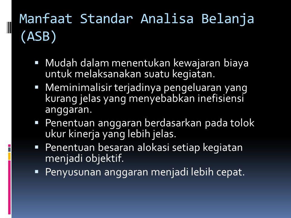 Manfaat Standar Analisa Belanja (ASB)