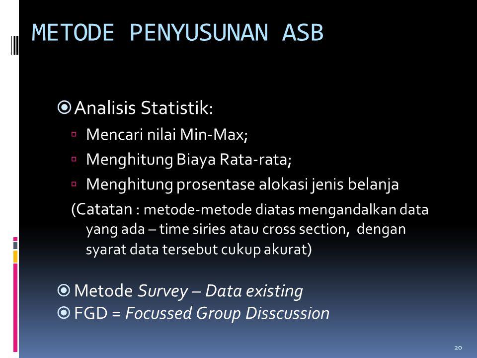 METODE PENYUSUNAN ASB Analisis Statistik: