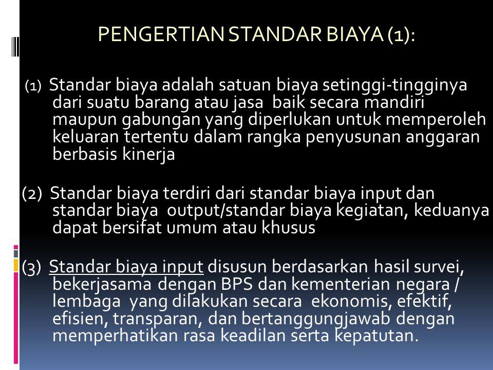 PENGERTIAN STANDAR BIAYA (1):