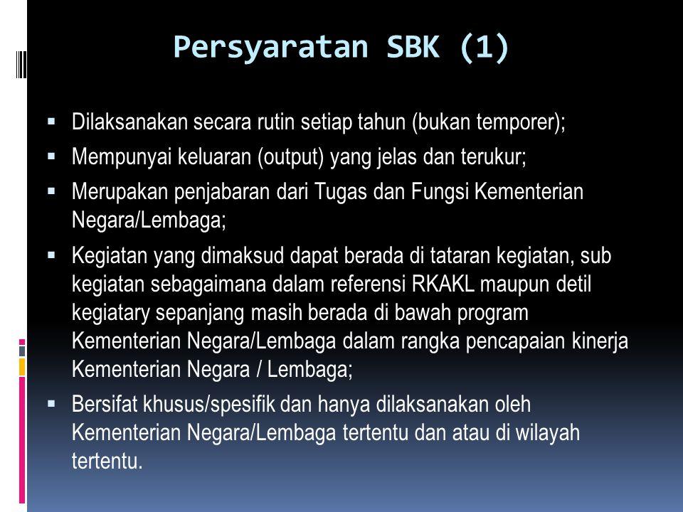 Persyaratan SBK (1) Dilaksanakan secara rutin setiap tahun (bukan temporer); Mempunyai keluaran (output) yang jelas dan terukur;