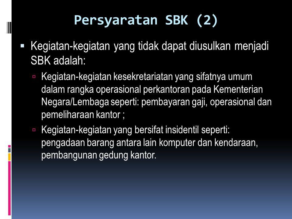 Persyaratan SBK (2) Kegiatan-kegiatan yang tidak dapat diusulkan menjadi SBK adalah: