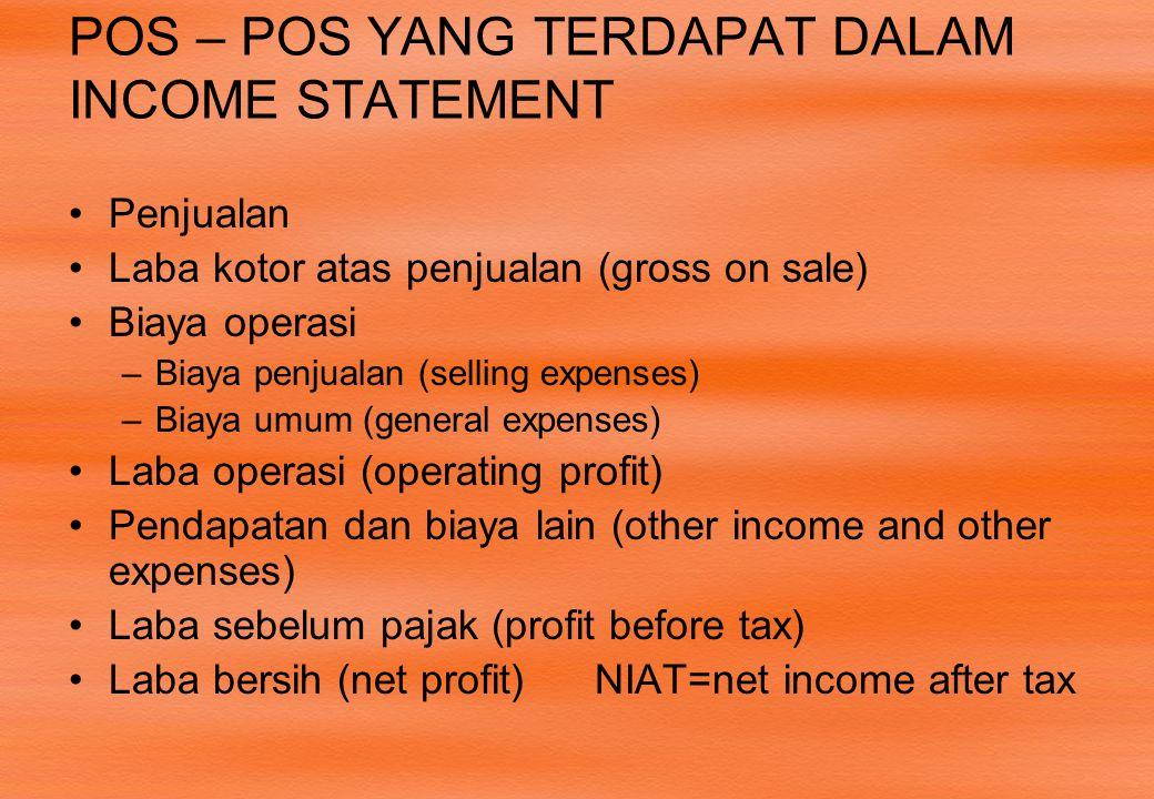 POS – POS YANG TERDAPAT DALAM INCOME STATEMENT
