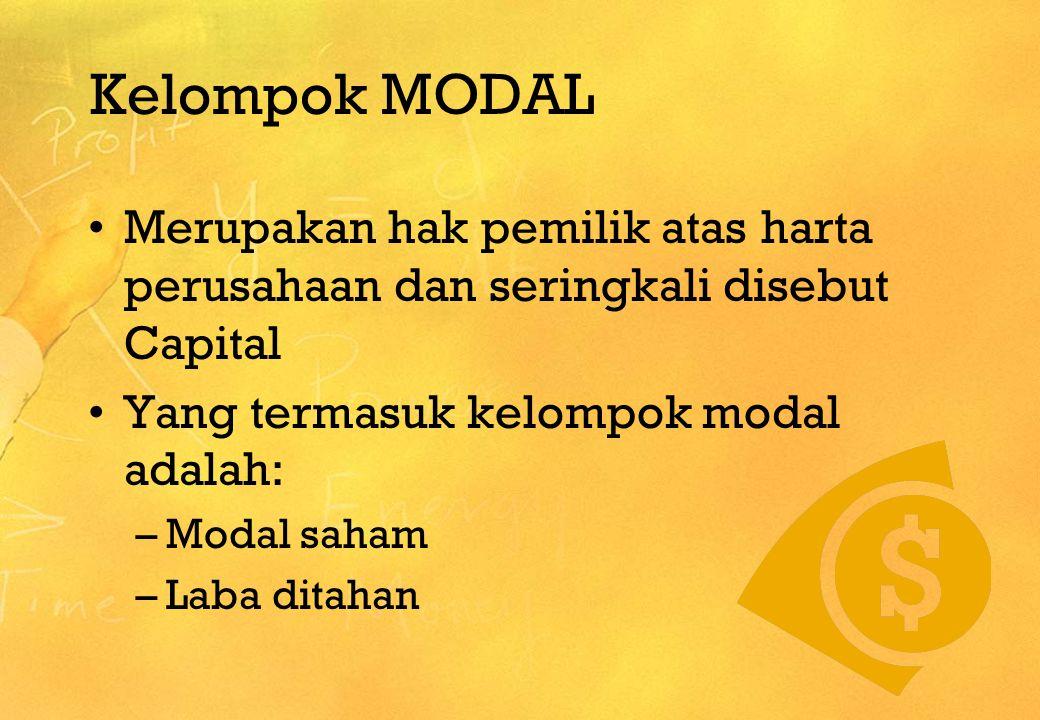Kelompok MODAL Merupakan hak pemilik atas harta perusahaan dan seringkali disebut Capital. Yang termasuk kelompok modal adalah: