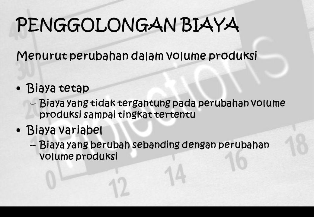 PENGGOLONGAN BIAYA Menurut perubahan dalam volume produksi Biaya tetap